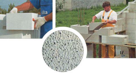 Газобетонная стена в разрезе: видны заполненные газом поры, благодаря которым удерживается тепло