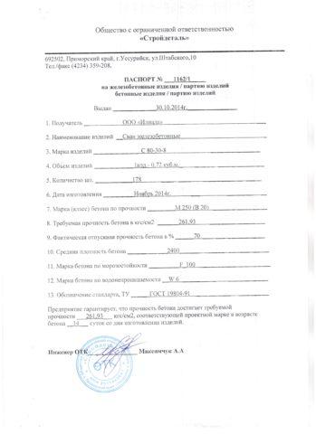 Пример Паспорт наЖБИ. Пункт 10— средняя плотность бетона