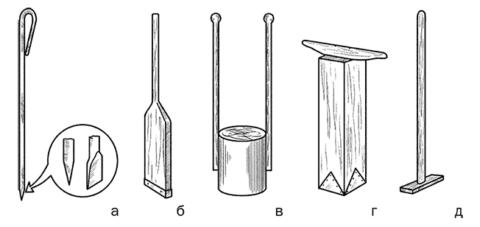 Слева направо: щуп, узкая трамбовка, обитая металлическим уголком или профилем П-образной формы, трамбовка круглая, трамбовка квадратная, гладилка для бетона