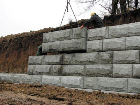 Блоки бетонные для подпорных стенок с декоративным лицевым слоем