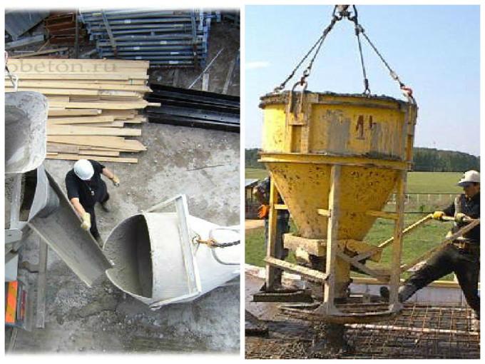 подача бетонной смеси краном