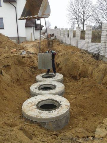 Колодцы железобетонные канализационныевсистеме стремя отстойниками