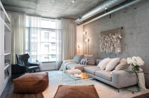 Микроцементная отделка потолочной и стеновой поверхности в индустриальном стиле