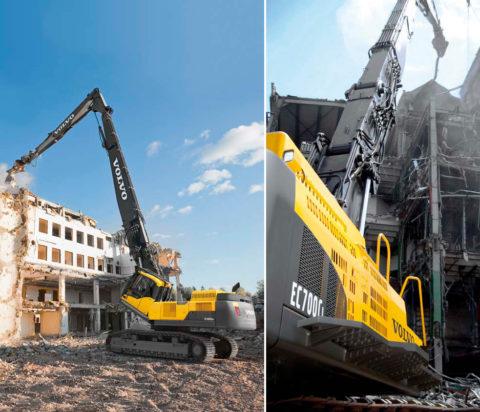 Шведы выпустили экскаватор, спроектированный специально для работы по демонтажу крупных сооружений, оснащенный не только сверхдлинной стрелой, но и подъемной кабиной
