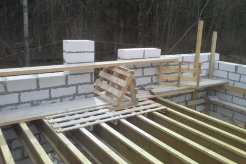 Несущие балки монтируются одновременно с возведением стен