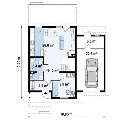 Первый этаж— размещение помещений