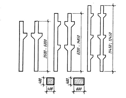 Варианты колонн для рамно-консольного каркаса