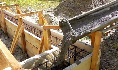 Заливка бетонного раствора в подготовленную опалубку