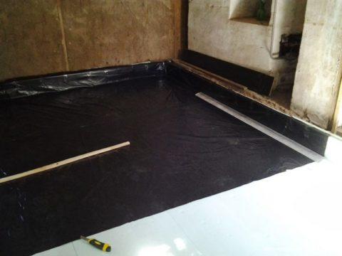 Гидроизоляция бетонного пола рубероидом