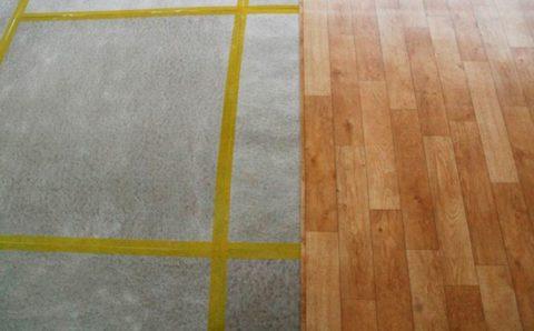 Как постелить линолеум на бетон с помощью липкой ленты