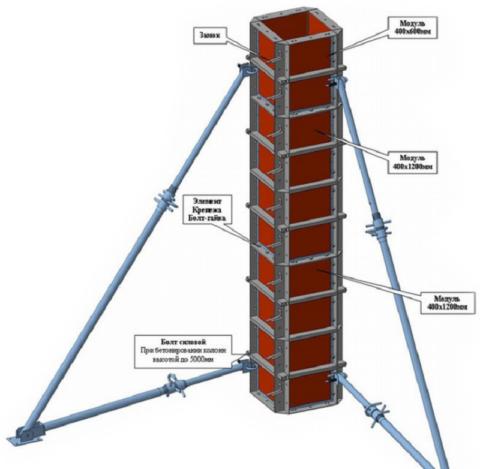 Модульная щитовая опалубка для бетонирования колонн