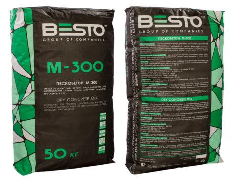 На фото пескобетон М300 ровнитель компании Besto