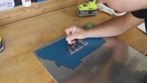 Перенос на металл рисунка через трафарет
