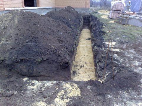 Подушка из песка и щебня