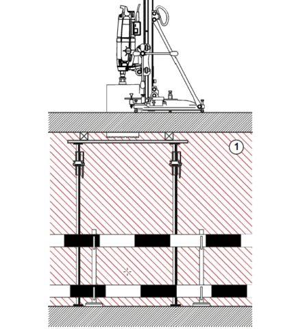 Установка подмостей для предупреждения падения керна с высоты