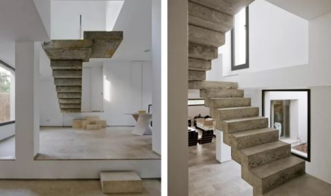Лестница из железобетона без отделки в стиле лофт