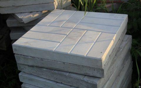 Плита бетонная армированная 500х500х50 для обустройства придомовых территорий