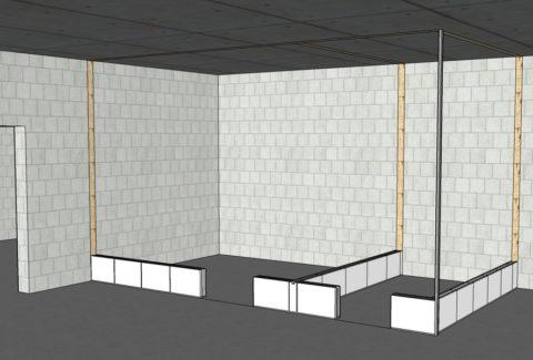 Разметка на полу и стенах облегчает начало кладки
