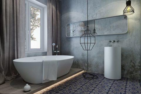 Плитка для ванной под бетон