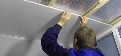 Утепление потолка из бетонных плит