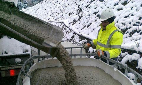 Жидкий бетон даже зимой