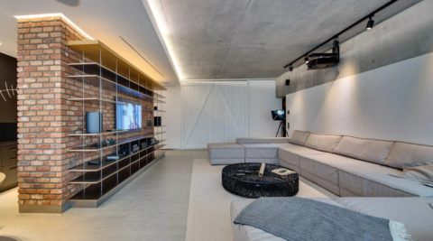 Бетонный потолок вполне может быть акцентирующим элементом