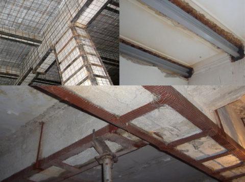 Конструктивный ремонт может включать в себя процесс усиления перекрытия
