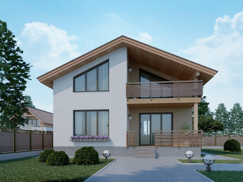 Двухэтажные дома с низкой крышей фото